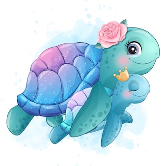 Cute little sea turtle mother and baby illustration