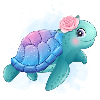 Cute little sea turtle with watercolor illustration