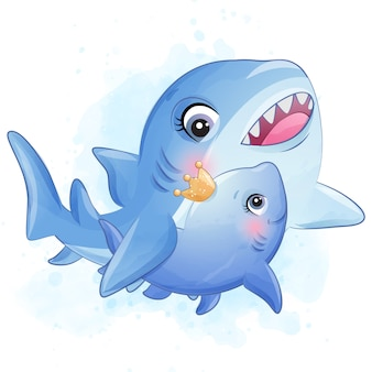 Cute little shark mother and baby illustration