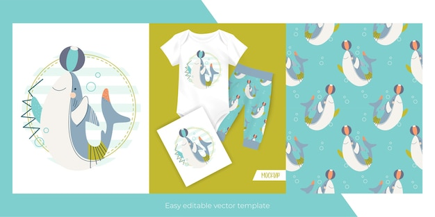 Cute little shark and seamless pattern  for kids