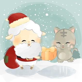 かわいい羊と猫