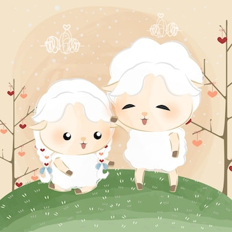 Cute little sheep couple