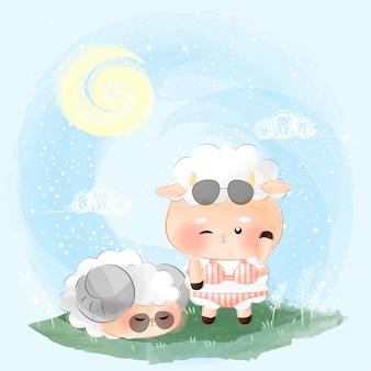 Симпатичные маленькие овцы в летнем саду иллюстрации