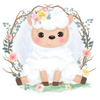 保育園の装飾のための水彩画スタイルのかわいい小さな羊