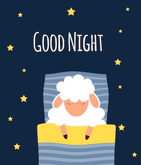 Cute little sheep on the night sky. good night.