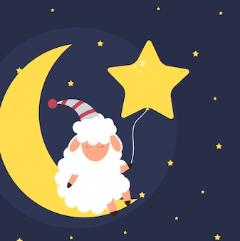 Cute little sheep on the night sky. sweet dreams. vector illustration. eps10
