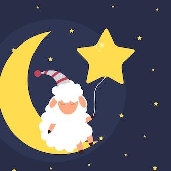 Милая маленькая овечка на ночном небе. сладкие мечты. векторные иллюстрации. eps10