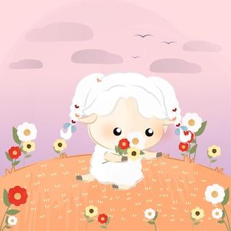 Cute little sheep picking flowers