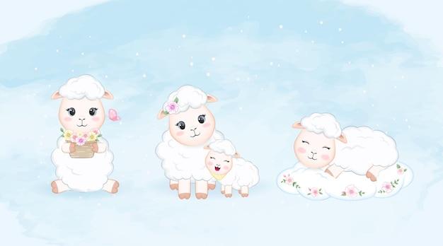 かわいい小さな羊セット水彩イラスト