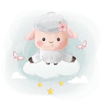 Милая маленькая овечка сидит на облаке