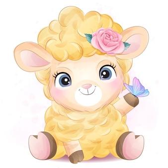 Симпатичные овечки с акварельной иллюстрацией