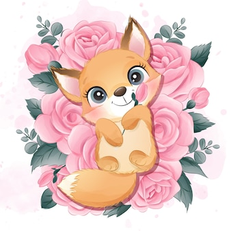 Cute little sleep in the roses illustration