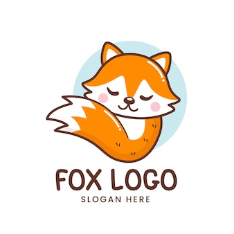 Cute little sleeping fox logo