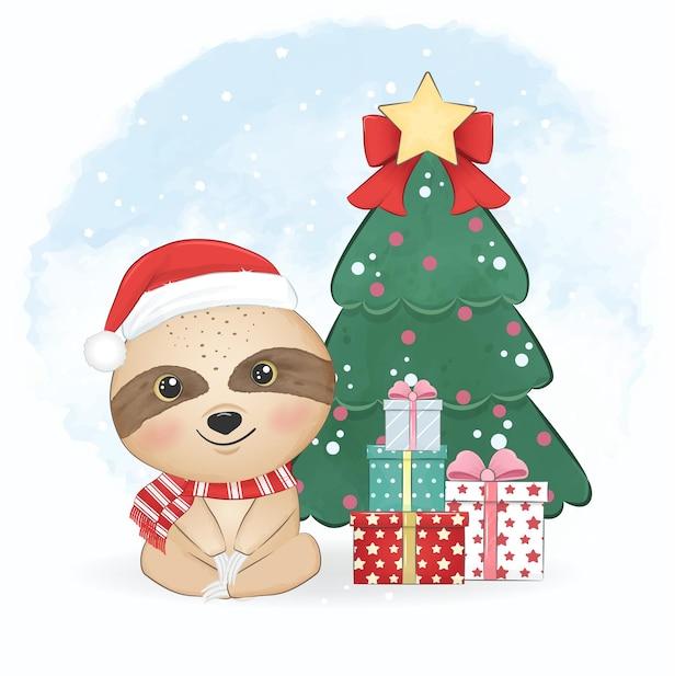 かわいい小さなナマケモノとクリスマスツリーのクリスマスシーズンのイラスト