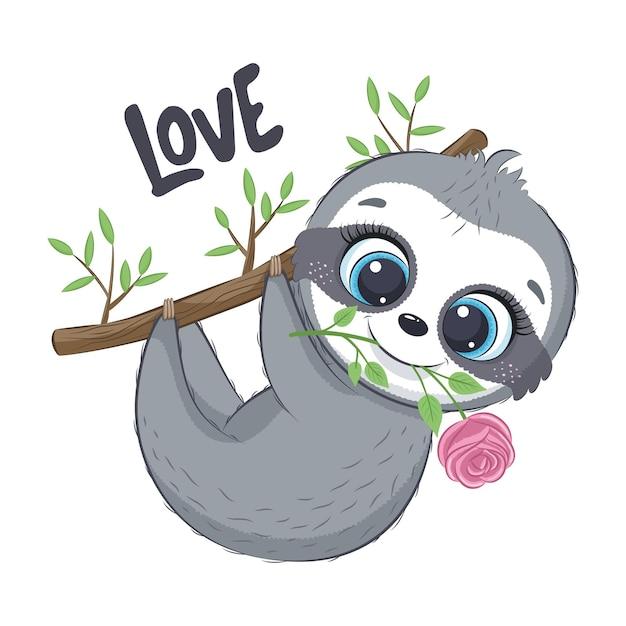 花とかわいいナマケモノ。幸せなバレンタインデーのクリップアート。