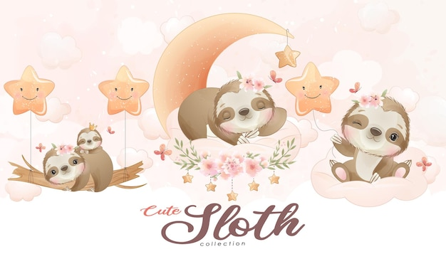 Cute little sloth with watercolor illustration set