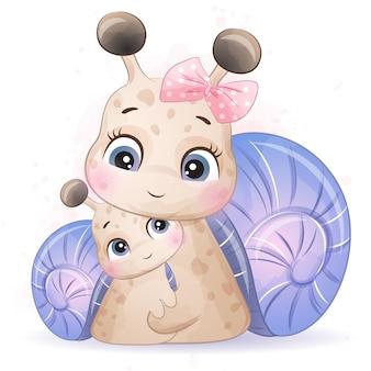かわいい小さなカタツムリの母親と赤ちゃん