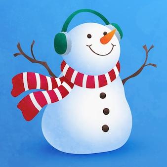 クリスマスの装飾のためのかわいい小さな雪だるまフラット漫画