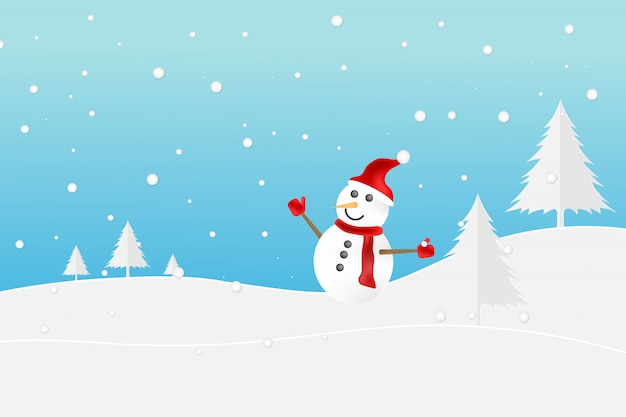 Cute little snowman with red scarf on snow.