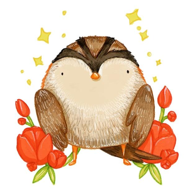 Cute little sparrow - hand drawn illustration