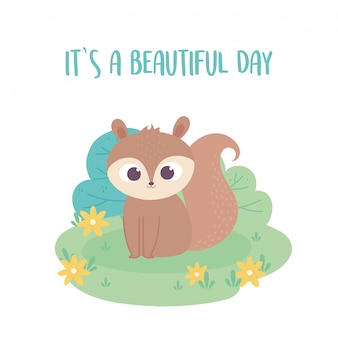 Cute little squirrel cartoon animal adorable with flowers