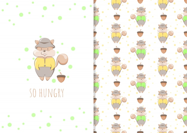 Cute little squirrel cartoon character, illustration and seamless pattern for kids
