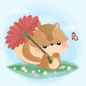 Cute little squirrel holding flower like an umbrella
