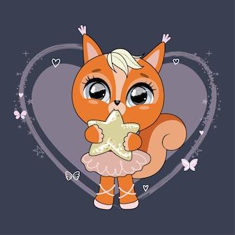 밤하늘을 배경으로 별을 들고 있는 귀여운 다람쥐 트렌디한 스타일의 현대적인 파스텔 색상