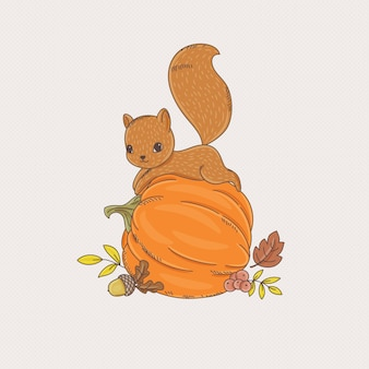 Cute little squirrel laying on the pumpkin. vector hand-drawn illustration