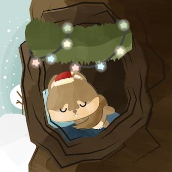 크리스마스 날에 귀여운 작은 다람쥐