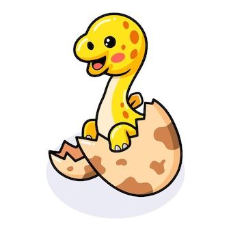 Cute little stegosaurus cartoon hatching from egg