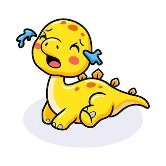 かわいい小さなステゴサウルス恐竜漫画泣いて