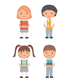 Cute little students group characters