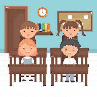 Cute little students group in the classroom