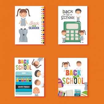 Cute little students in sheets notebook and supplies. back to school