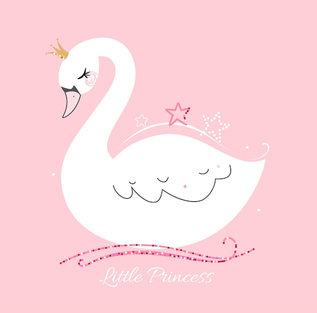 Cute little swan princess on pink background. trendy style.
