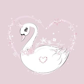 Cute little swan princess