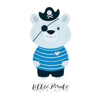 Cute little teddy bear pirate