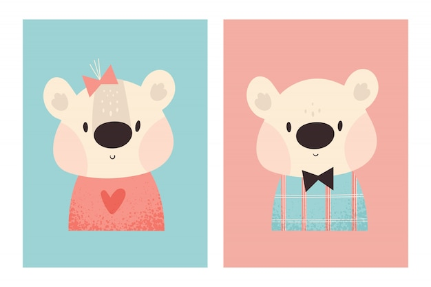 Cute little teddy bears boy and girl. lovely baby animal. childish illustration