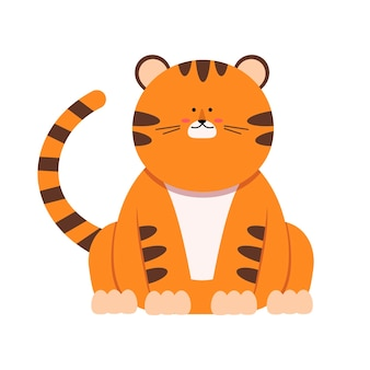 Cute little tiger character in flat style. the symbol of the chinese new year 2022. for banner, nursery, pattern decor. vector hand drawn illustration.