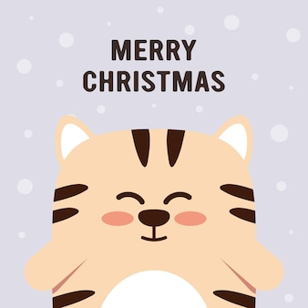 Cute little tiger character in flat style. zodiac symbol of the chinese new year 2022. merry christmas. for banner, postcard, brochure decor template. vector illustration.