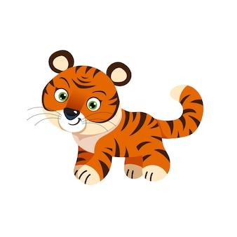 Милый маленький тигр. китайский символ 2022 года. год тигра. мультяшный талисман. улыбающийся очаровательный персонаж. векторные иллюстрации, изолированные на белом фоне.