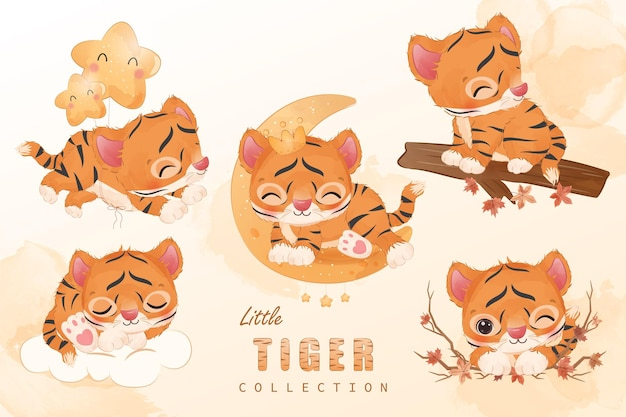 Cute little tiger clipart collection in watercolor illustration