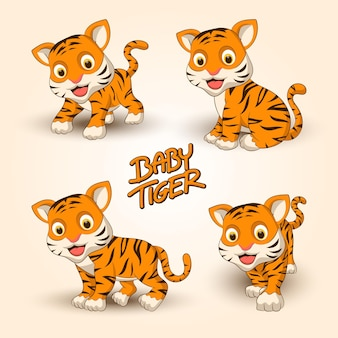 Симпатичная маленькая коллекция тигров с простым плоским дизайном