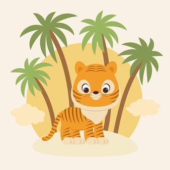 Милый маленький тигренок на песке перед пальмами векторные иллюстрации шаржа
