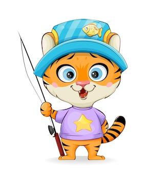 Милый тигренок на рыбалке