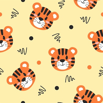 Cute little tiger illustration pattern