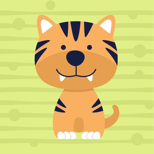 かわいい虎の柔らかい色の子供のtシャツのデザイン