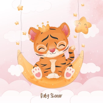 Cute little tiger in watercolor illustration