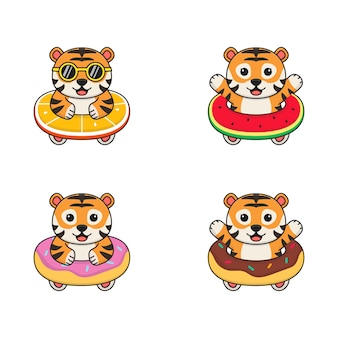 오렌지, 워터 멜론 및 도넛 수영 반지와 귀여운 작은 호랑이